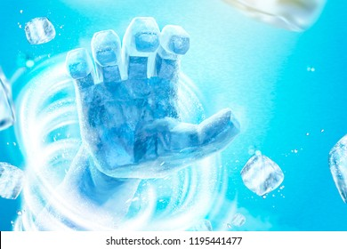Frozen hand with whirlwind and flying ice cubes in 3d illustration on blue background