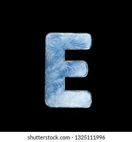 Frozen ice alphabet. Letters on dark background. 3D illustration