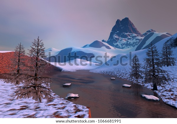 Frozen lake, 3D rendering, an alpine landscape, snow on the ground, coniferous trees and a beautiful sky.