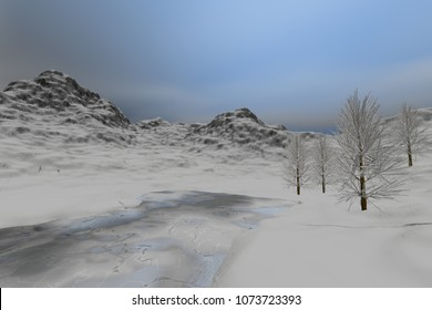 Frozen lake, 3D rendering, a winter landscape, snow and ice everywhere, beautiful trees and a cloudy sky.