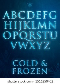 Frozen letters with Ice texture