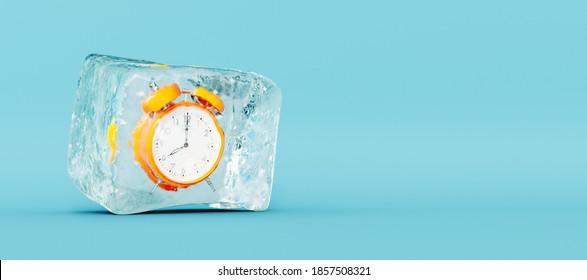 Frozen orange clock, stopping the time concept on blue background 3D Rendering, 3D Illustration