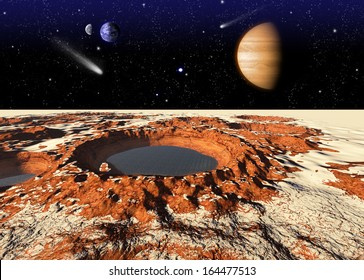 Frozen water on the Mars. Elements of this image furnished by NASA