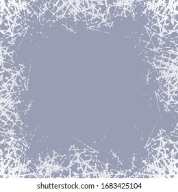 Frozen window background. Winter Postcard with picture white frost. Celebrate jpeg illustration.