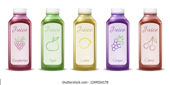 Fruit and berry juice bottles illustration of 3D plastic bottles models for fresh juice. Isolated realistic mockups set of apple, lemon or grape and raspberry or cherry berries juice drinks