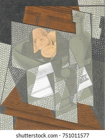 THE FRUIT BOWL, by Juan Gris, 1915-16, Spanish Cubist graphite, wax crayon, gouache drawing. This drawing is one of eleven Gris made to illustrate the poems of the artists friend, Pierre Reverdy