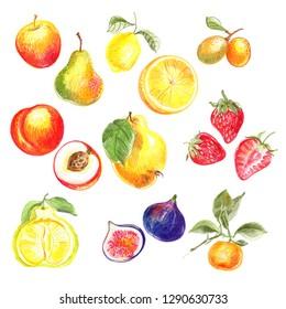 Fruit drawn with colored pencils. Apple, pear, lemon, orange, peach, Quince, strawberry, fig, Ugli fruit, Ximenia, mandarin. Vegetarianism. Farm products.
