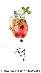 Fruit iced tea with raspberries, peppermint and ice in pitcher, hand drawn - watercolor Illustration