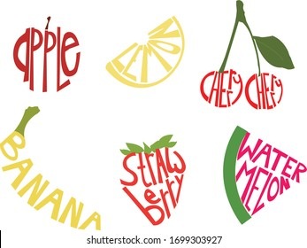 Fruit illustrations made up of the physical name for the fruit.