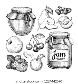 Fruit jam glass jar drawing. Jelly and marmalade with strawberry, cherry, blueberry, apple, pear, apricot, plum. Hand drawn food illustration. Sketch vintage objects for label, icon, packaging.