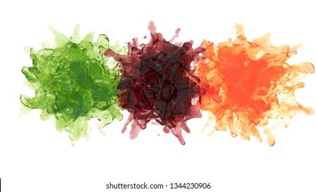 fruit juices explode. 3d rendering