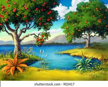 Fruit Tree with Lake