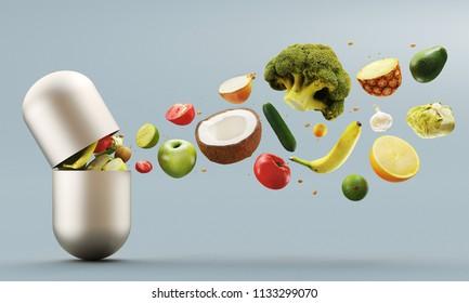 Fruit and vegetables come out of tablet, vitamins, illustration 3d render