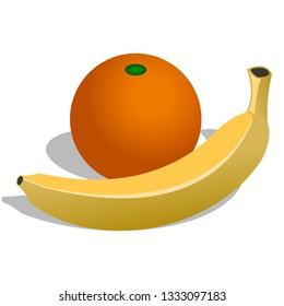 Fruits banana and orange vegetable food icon isolated on white background. illustration