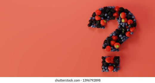 Fruits of the forest question mark, ultra realistic 3d rendering