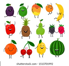 Fruits for kids. Cute fruit characters illustration, healthy juice cartoon kawaii summer fruits isolated on white background