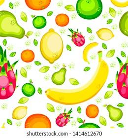 Fruits. Seamless pattern. Banana, lemon, orange, apple, pear pitahaya Flat style For fruit shop food cafe for children