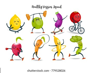 Fruits and vegetables cartoon characters set. Healthy and fitness. Flat illustration isolated on white
