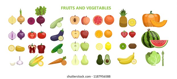Fruits and vegetables set on white background.