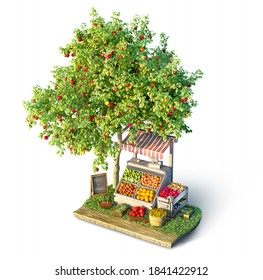 Fruits and veggies stall and apple tree on a small piece of ground, 3d illustration