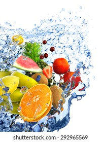 fruits and water splash