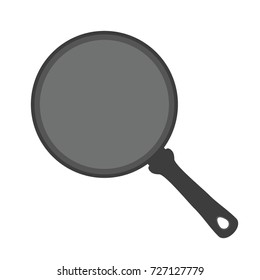 Frying pan, stainless steel kitchenware, utensil. Made in cartoon flat style