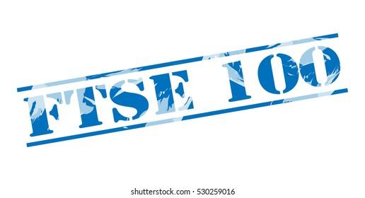 ftse 100 blue stamp on white background