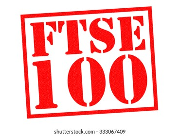 FTSE 100 red Rubber Stamp over a white background.