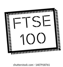 FTSE 100 stamp on white background