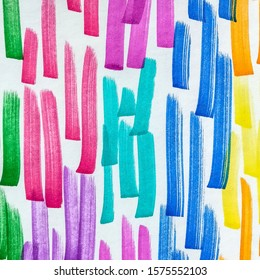Fuchsia Shibori Grunge Lines. Blue Bright Juicy Doodle Marker Stripes. Lemon Copper Paintbrush Hipster Marker Stripes. Hot Pink Lilac Multicolor Hand Drawn Stroke.