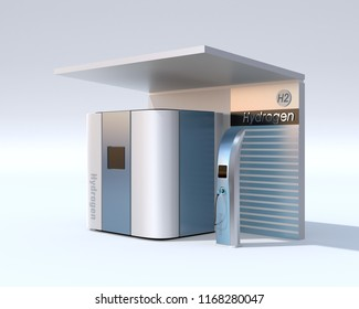 Fuel Cell Hydrogen Station concept. 3D rendering image.