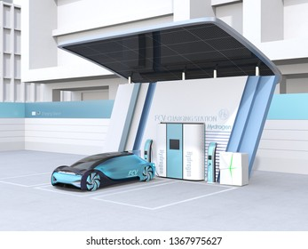 Fuel Cell powered autonomous car filling gas in Fuel Cell Hydrogen Station equipped with solar panels. 3D rendering image.