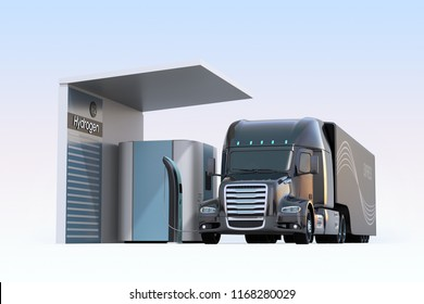 Fuel Cell powered truck filling gas in Fuel Cell Hydrogen Station. 3D rendering image.