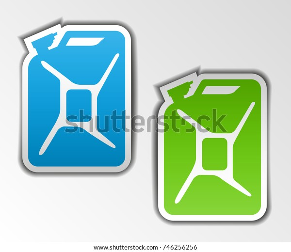 Fuel container jerrycan. Gasoline canister. Illustration isolated with shadow on background.