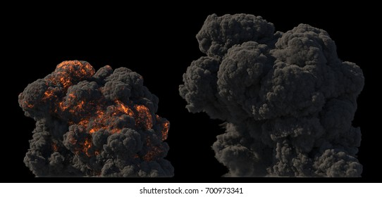 Fuel explosion on black 3d illustration