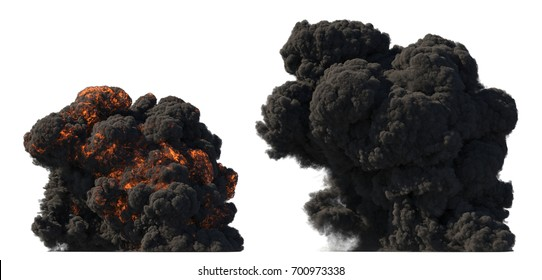 Fuel explosion on white 3d illustration