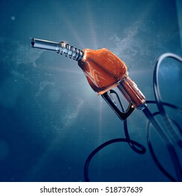 fuel gas filling nozzle 3d digital global high quality futuristic background. Gas, benzine, car transportation future concept.