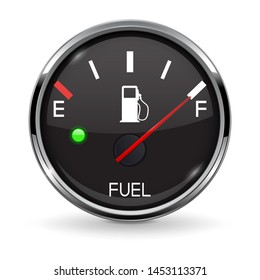 Fuel gauge. Full tank. Round black car dashboard 3d device with chrome frame. Illustration isolated on white background. Raster version
