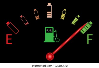 Fuel gauge illustration with fuel station and colorful batteries. Abstract electric car concept.