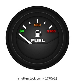 fuel gauge with money amounts