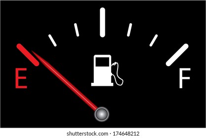 Fuel gauge on black background, indicating near empty, raster version.
