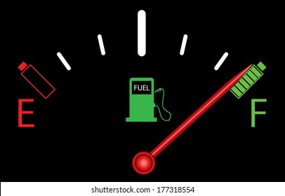 Fuel gauge on black with batteries.
