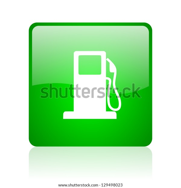 fuel green square web icon on white background