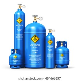 Fuel industry manufacturing concept: 3D render of different blue metal liquefied compressed natural oxygen gas containers or cylinders with high pressure gauge meters and valves isolated on white