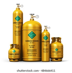 Fuel industry manufacturing concept: 3D render of yellow metal liquefied compressed natural carbon dioxide gas containers or cylinders with high pressure gauge meters and valves isolated on white