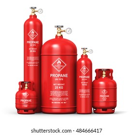 Fuel industry manufacturing concept: 3D render of red metal liquefied compressed natural propane gas LNG or LPG containers or cylinders with high pressure gauge meters and valves isolated on white