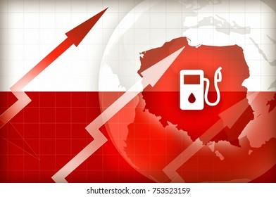 Fuel price increase in Poland flag and arrows - concept news background illustration