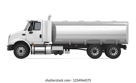 Fuel Tanker Truck (side view). 3D rendering