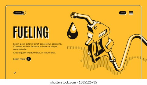 Fueling gasoline or diesel isometric web banner. Fuel nozzle on hose and droplet of gas, ethanol or biodiesel, line art illustration. Filling stations network, petroleum company landing page