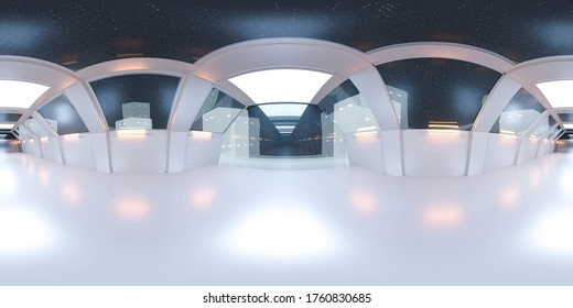 full 360 panorama space ship corridor with white futuristic design and reflections 3d rendering illustration